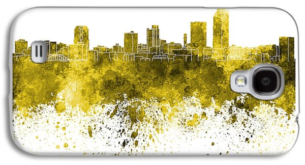 Arkansas Paintings Galaxy S4 Cases - Little Rock skyline in yellow watercolor on white background Galaxy S4 Case by Pablo Romero