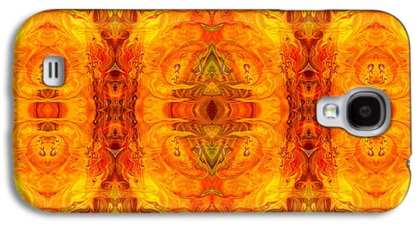 Blue Abstracts Glass Galaxy S4 Cases - Living Passion Abstract Bliss  by Omashte Galaxy S4 Case by Omaste Witkowski