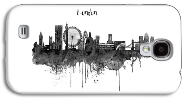 London Black And White Skyline Watercolor Galaxy S4 Case by Marian Voicu