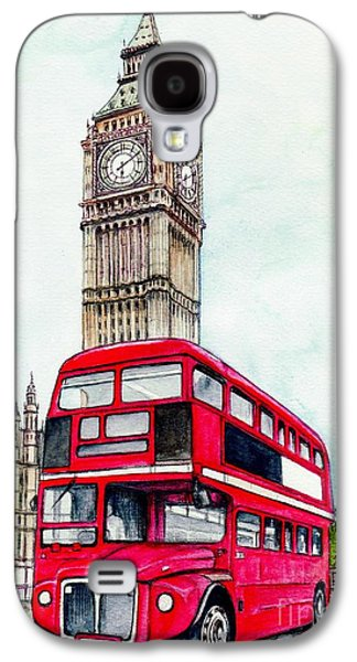 Cities Mixed Media Galaxy S4 Cases - London Bus and Big Ben Galaxy S4 Case by Morgan Fitzsimons