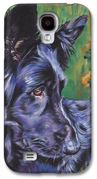 German Shepherd Galaxy S4 Cases - Long Hair Black German Shepherd Galaxy S4 Case by Lee Ann Shepard