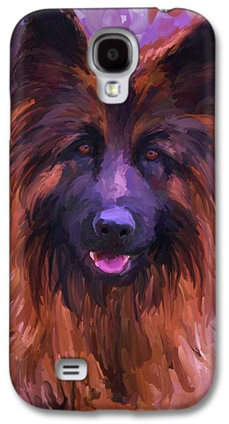 Police Paintings Galaxy S4 Cases - Long Haired German Shepherd Galaxy S4 Case by Jai Johnson