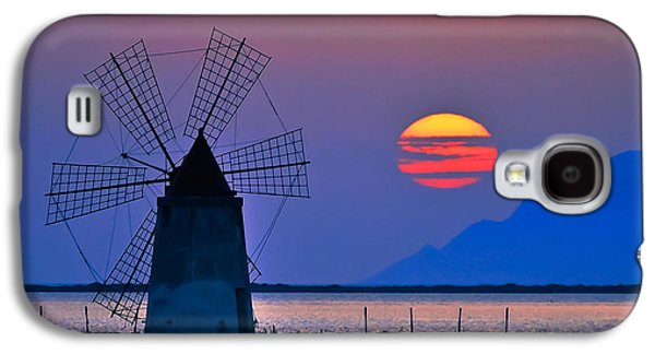 Sun Galaxy S4 Cases - Long Windmill in Violet Galaxy S4 Case by Brian Murphy