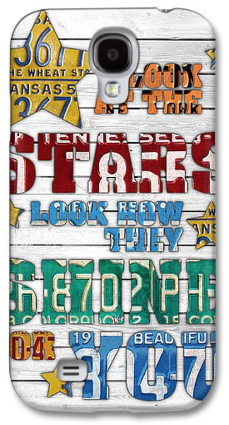 Look At The Stars Coldplay Yellow Inspired Typography Made Using Vintage Recycled License Plates V2 Galaxy S4 Case by Design Turnpike