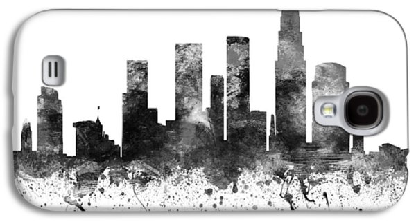Skylines Drawings Galaxy S4 Cases - Los Angeles California Cityscape 02BW Galaxy S4 Case by Aged Pixel