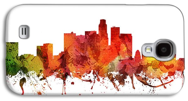 Skylines Drawings Galaxy S4 Cases - Los Angeles Cityscape 04 Galaxy S4 Case by Aged Pixel