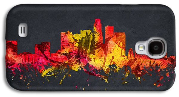 Skylines Drawings Galaxy S4 Cases - Los Angeles Cityscape 07 Galaxy S4 Case by Aged Pixel