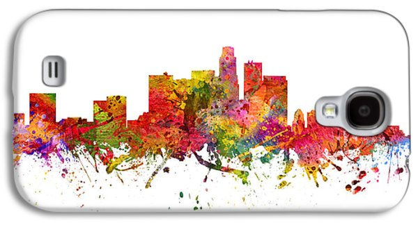 Skylines Drawings Galaxy S4 Cases - Los Angeles Cityscape 08 Galaxy S4 Case by Aged Pixel