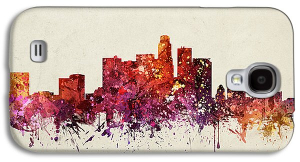 Skylines Drawings Galaxy S4 Cases - Los Angeles Cityscape 09 Galaxy S4 Case by Aged Pixel