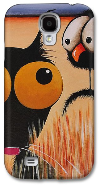 Crows Black Paintings Galaxy S4 Cases - Lost in the hay Galaxy S4 Case by Lucia Stewart