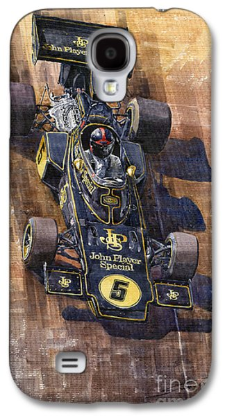 Canadian Sports Paintings Galaxy S4 Cases - Lotus 72 Canadian GP 1972 Emerson Fittipaldi  Galaxy S4 Case by Yuriy  Shevchuk