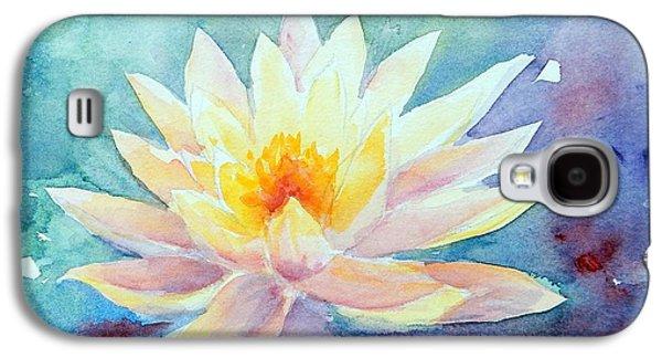 Nature Center Pond Paintings Galaxy S4 Cases - Lotus Awakens Galaxy S4 Case by Caroline Patrick
