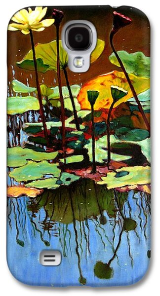 July Paintings Galaxy S4 Cases - Lotus In July Galaxy S4 Case by John Lautermilch