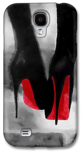 Louboutin At Midnight Black And White Galaxy S4 Case by Rebecca Jenkins