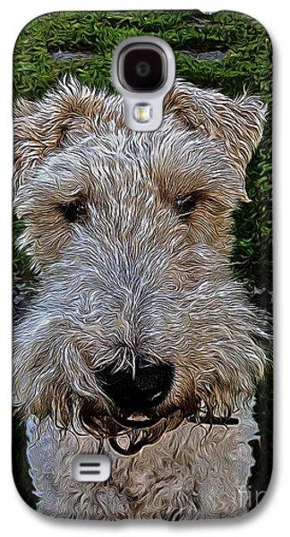Puppies Digital Art Galaxy S4 Cases - Louis Galaxy S4 Case by Jen  Brooks Art