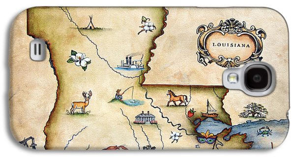 Louisiana Map Galaxy S4 Case by Judy Merrell