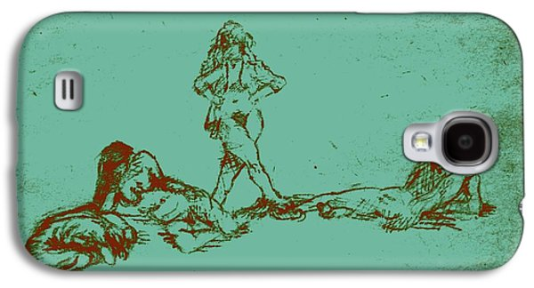 Lounge Drawings Galaxy S4 Cases - Lounging Nude Females Galaxy S4 Case by Sheri Parris