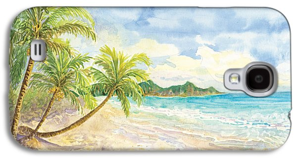 Green Galaxy S4 Cases - Love Heart on the Tropical Beach with Palm Trees Galaxy S4 Case by Audrey Jeanne Roberts