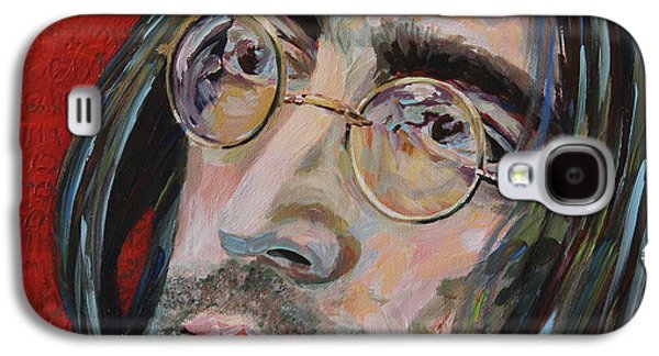 Beatles Galaxy S4 Cases - Love is the Answer John Lennon Portrait 2 Galaxy S4 Case by Robert Yaeger