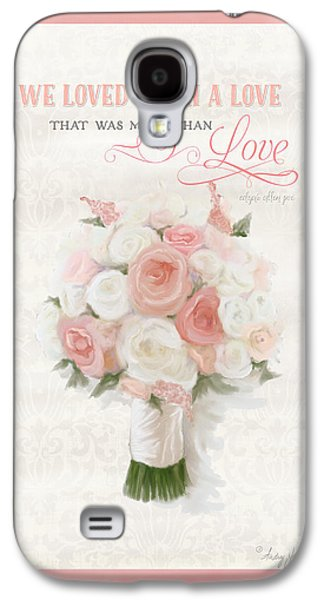 Love Typography Bridal Bouquet Damask Lace Coral Peach Blush Galaxy S4 Case by Audrey Jeanne Roberts