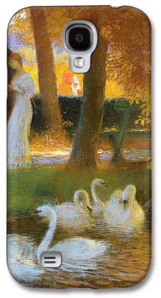 Impressionism Pastels Galaxy S4 Cases - Lovers and Swans  The Autumn Walk Galaxy S4 Case by Gaston de Latouche