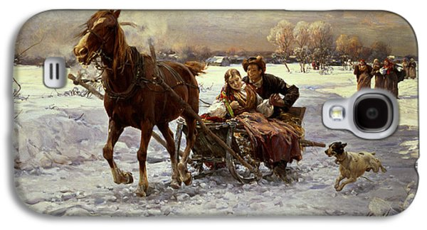 Winter Landscapes Galaxy S4 Cases - Lovers in a sleigh Galaxy S4 Case by Alfred von Wierusz Kowalski