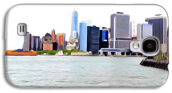 Abstract Digital Art Galaxy S4 Cases - Lower Manhattan Skyline Galaxy S4 Case by Ed Weidman