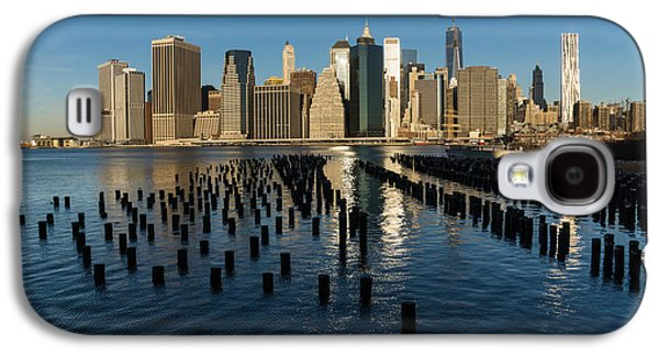 Business Galaxy S4 Cases - Luminous Blue Silver and Gold - Manhattan Skyline and East River Galaxy S4 Case by Georgia Mizuleva