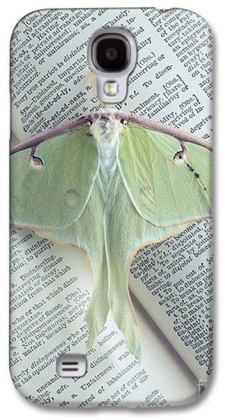 Luna Galaxy S4 Cases - Luna Moth on Book Galaxy S4 Case by Edward Fielding
