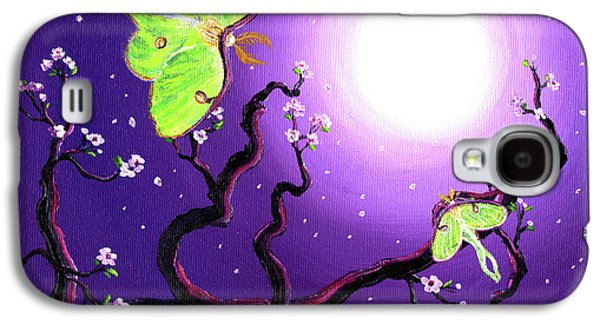 Moth Paintings Galaxy S4 Cases - Luna Moths in Moonlight Galaxy S4 Case by Laura Iverson