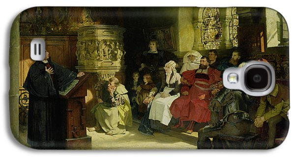 Luther Preaches Using His Bible Translation While Imprisoned At Wartburg Galaxy S4 Case by Hugo Vogel