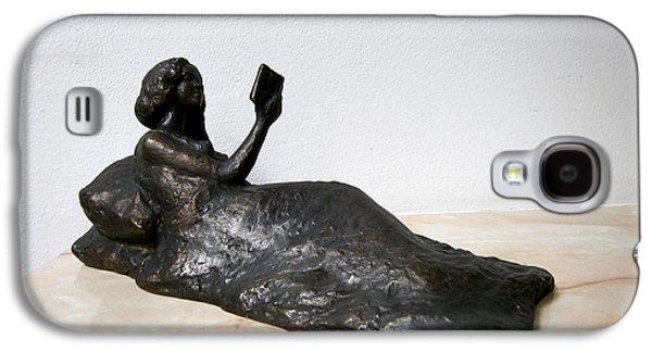 Girl Sculptures Galaxy S4 Cases - Lying girl with book Galaxy S4 Case by Nikola Litchkov