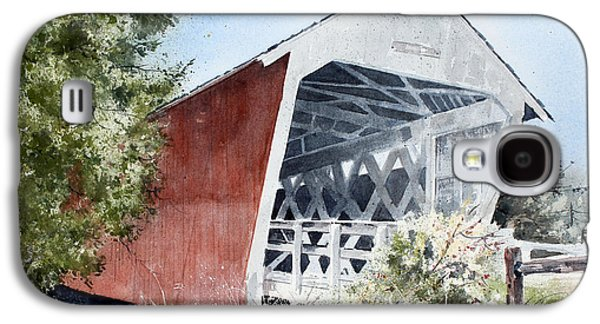 Covered Bridge Paintings Galaxy S4 Cases - Madison County Bridge Galaxy S4 Case by Monte Toon