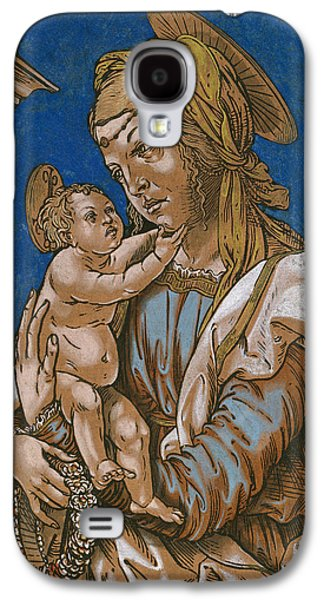 Religious Drawings Galaxy S4 Cases - Madonna and Child under an arch Galaxy S4 Case by Hans Burgkmair