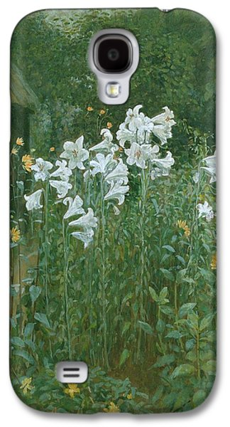 Madonna Lilies In A Garden Galaxy S4 Case by Walter Crane