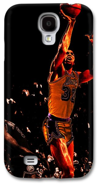 Larry Bird Galaxy S4 Cases - Magic Johnson Lean Back II Galaxy S4 Case by Brian Reaves