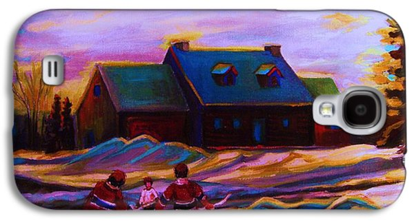 Hockey Sweaters Paintings Galaxy S4 Cases - Magical Day For Hockey Galaxy S4 Case by Carole Spandau