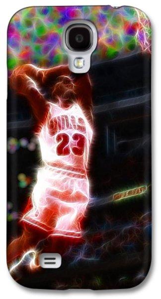 Jordan Drawings Galaxy S4 Cases - Magical Michael Jordan White Jersey Galaxy S4 Case by Paul Van Scott