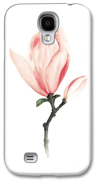 Illustration Jewelry Galaxy S4 Cases - Magnolia pink flower watercolor art print Galaxy S4 Case by Joanna Szmerdt