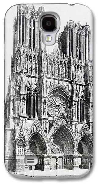 First Lady Drawings Galaxy S4 Cases - Main Facade Of Notre-dame De Reims  Our Galaxy S4 Case by Vintage Design Pics