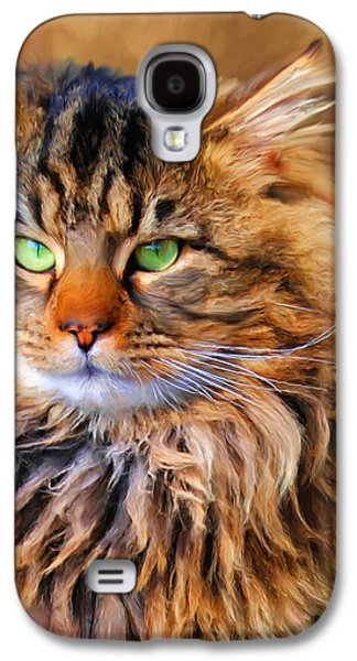 Maine Paintings Galaxy S4 Cases - Maine Coon Cat Galaxy S4 Case by Jai Johnson