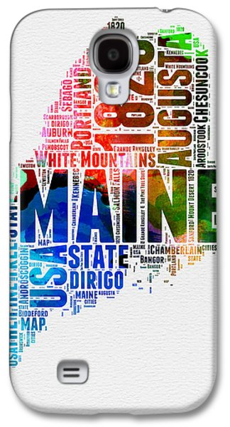 4th July Mixed Media Galaxy S4 Cases - Maine Watercolor Word Cloud  Galaxy S4 Case by Naxart Studio