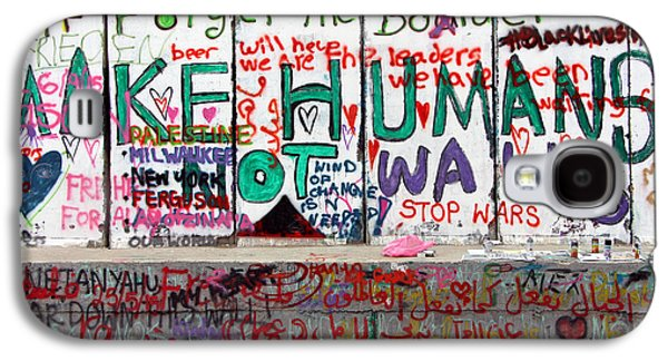 Separation Paintings Galaxy S4 Cases - Make Humans Not Walls Galaxy S4 Case by Munir Alawi