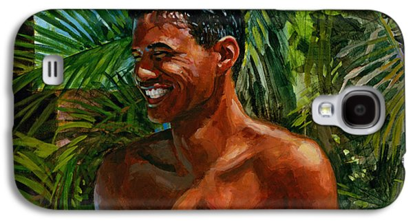 Laugh Paintings Galaxy S4 Cases - Making Nohea Laugh Galaxy S4 Case by Douglas Simonson