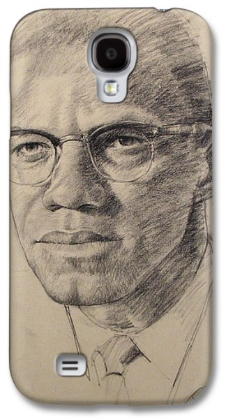 African-american Drawings Galaxy S4 Cases - Malcolm X Galaxy S4 Case by Cliff Spohn