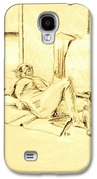 Lounge Drawings Galaxy S4 Cases - Male Nude Reclining on Cushion Galaxy S4 Case by Sheri Parris