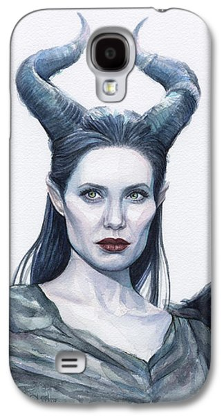 Drips Paintings Galaxy S4 Cases - Maleficent Watercolor Portrait Galaxy S4 Case by Olga Shvartsur