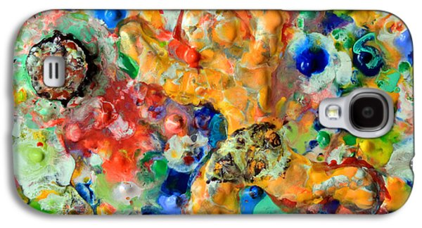 Colorful Abstract Sculptures Galaxy S4 Cases - Man  Kicking  An  Encaustic  Ball Galaxy S4 Case by Carl Deaville