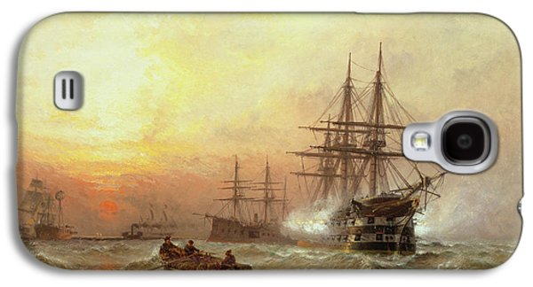 Man-o-war Firing A Salute At Sunset Galaxy S4 Case by Claude T Stanfield Moore