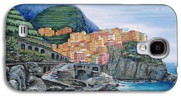 Vineyard Art Galaxy S4 Cases - Manarola Cinque Terre Italy Galaxy S4 Case by Marilyn Dunlap